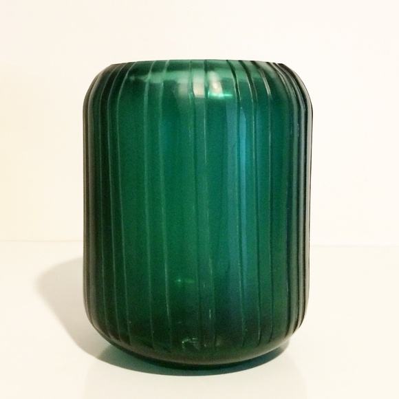 CB2 Cruz Green Glass Modern Lines Vase